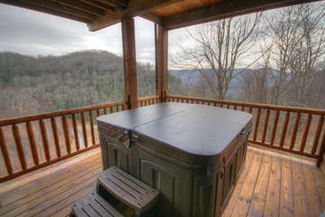 Eagles Nest Hot Tub on Lower Level View Deck