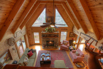 Eagles Nest Living Room from Loft, View Windows