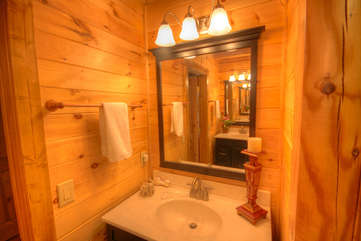 Eagles Nest Dual Vanities in Master Bath - You can see other vanity in reflection