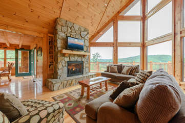 Living Room with Huge Fire Place, Cathedral Ceiling, and Beautiful Views
