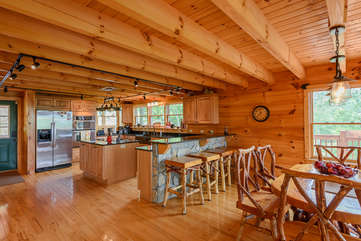 Bear Necessity dining area opens into kitchen