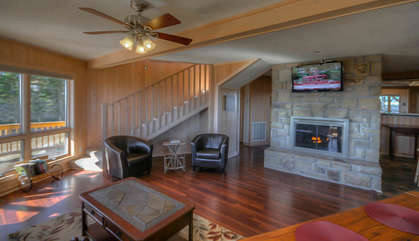 Cabin Above the Clouds Stone Fireplace and Flatscreen TV