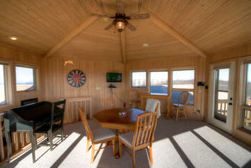 Cabin Above the Clouds Upstairs Family Den with Flat Screen TV, Game Table that includes Bumper Pool, Desk, 2 Leather Futons, and Amazing Views!