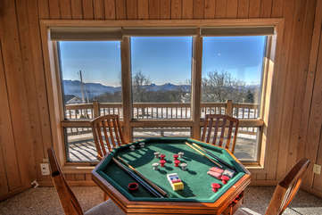 Cabin Above the Clouds Awesome View from Upstairs Family Den with great game table that includes bumper pool and cards