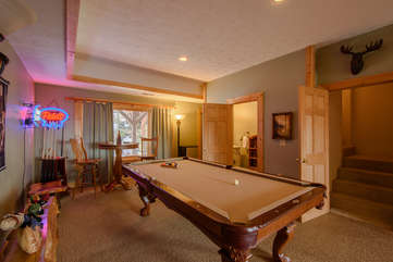 Fox Crossing Pool Table on Lower Level Next to Movie Room