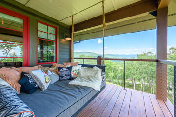Enjoy the Mountain Views from the Napping Swing on the Deck