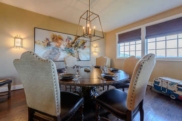 Dining Table with High Back Leather Chairs