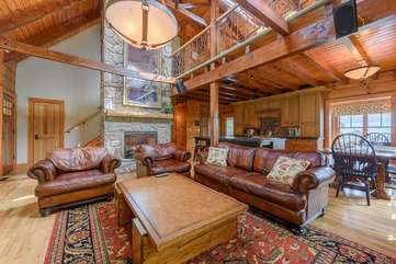 Great Room with Fireplace, HDTV, Leather Furniture