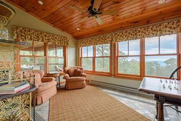 Cozy Sun Room with Views, Chess and Card Table