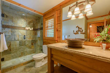 Full Bathroom with Tile and Glass Shower and Custom Vanity