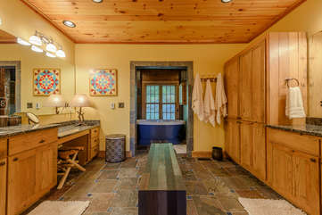 Master Bathroom with His and Her Vanities and Heated Tile Floors