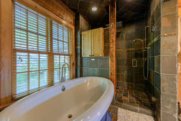 Master Bathroom with Effervescent Jetted Tub and Slate Shower