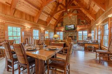 Open Floor Plan with Vaulted Ceilings and Hardwood Floors