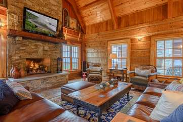 Great Room with Stone Gas Log Fireplace