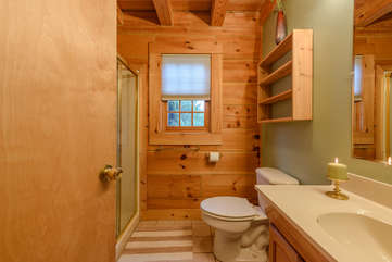 Full Bathroom on Main Level with Shower, Directly Across from Queen Bedroom