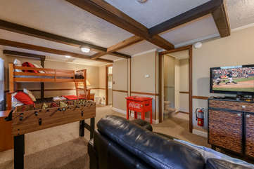 Bunk Room with Foosball Table and Flat Screen TV