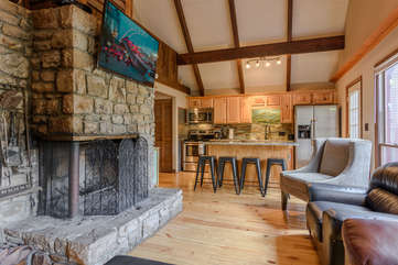 Stone Fireplace with Mounted Flat Screen TV