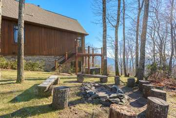 Phoenix Mountain Lodge Surrounded by Acres of Wooded Nature Preserve and outdoor firepit