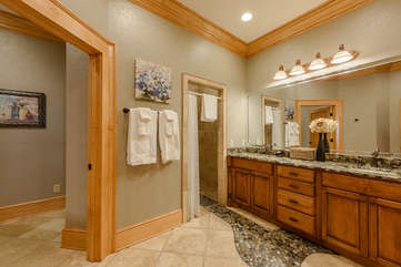 Phoenix Mountain Lodge Ensuite Full Bathroom with Artisan Stone and Tile Work