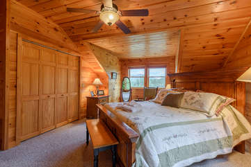 Upstairs Bedroom with Cozy Wood Finish