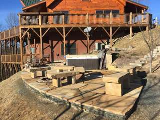New Hardscaping and Benches by Hot Tub and Fire Pit