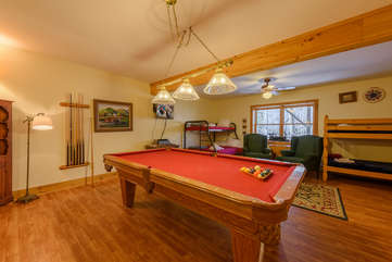 Downstairs Pool Room and Bunk Room