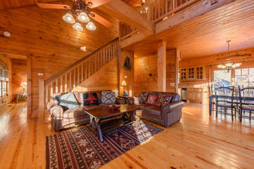 3 Bears Den Living Area with Loft Above