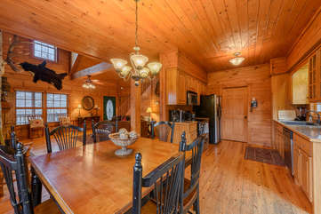3 Bears Den Dining, Kitchen, and Living Areas