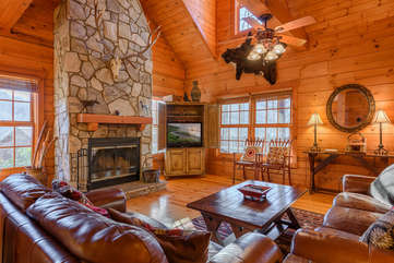 3 Bears Den Living Area with Wood-Burning Fireplace