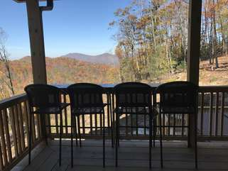 Enjoy the Mountain Views from the Custom Live Edge Slab Wood Outdoor Dining, for 4!