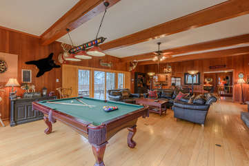 Colonel Weber's Lodge Pool Table, Living Area with access to Back Deck
