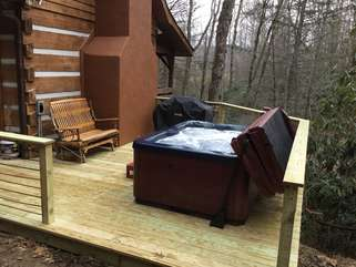 Hot Tub and Seating on on Rear Deck