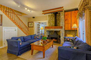 Beech Mountain Lodge Main Living Room with fireplace. This is the the living room adjacent to Kitchen