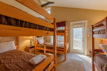 2nd Upstairs Bunk Room Sleeps 6, With Access to Sun Deck Shared with King Bedroom 1