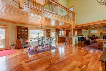 Camelot Lodge with spacious living and dining areas, loft above