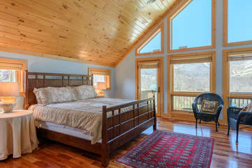 Upstairs king bedroom with private deck, private bath, beautiful views
