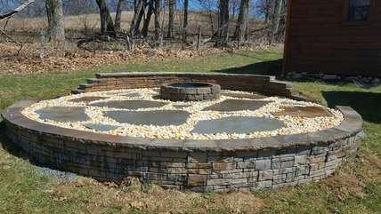 Camelot Lodge Fire pit , large yard bordered by pasture land offering room to play, privacy