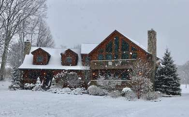 Camelot Lodge in the snow