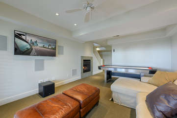 Downstairs Den with Air Hockey, HDTV, Gas Fireplace