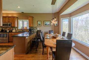Dining and Kitchen areas at Flat Top Lodge