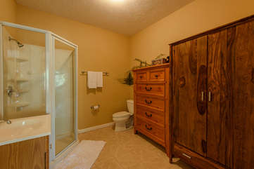 Master Bath on lower level with walk-in shower