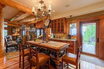 The Rock Gourmet Kitchen With Viking Stainless, Large Granite Island, access to back patio