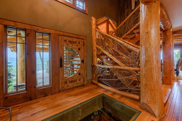 Front entrance to the Rock, with glass floor looking into Wine Cellar below. **Wine Cellar not accessible to guests**