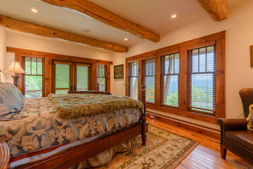 Master Bedroom on Main Level with King bed, long-range views