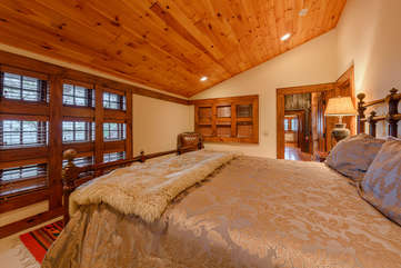 Second King Bedroom Suite Upstairs With Tongue In Groove Ceiling and Recessed Lighting
