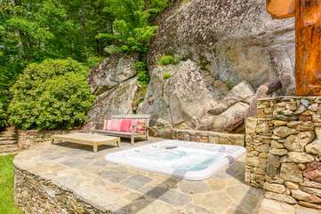 Hot Springs Tub Set in the Stone Patio Overlooking Long Range Mountain Views