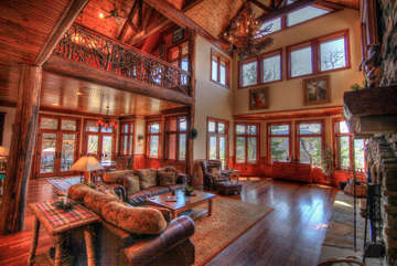 Overlook Estate Main Living Room - Open Floor Plan, Massive Vaulted Timber Frame