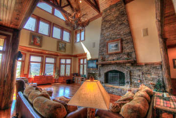 Overlook Estate Main Living Room - Soaring Stone Fireplace, View Windows
