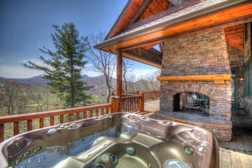 Overlook Estate Large Outdoor Living Area with Fireplace