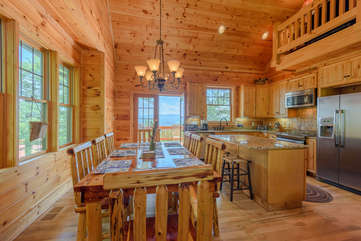 Valle Crucis Overlook Dining and Kitchen open onto back porch